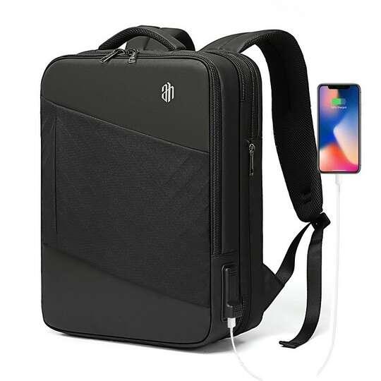 "Plecak/Torba Arctic Hunter na laptopa 15,6"" 16,4"" B00345 bagaż podręczny z USB - Kolor: czarny (romby)"