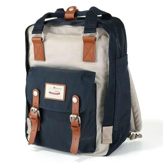 """Plecak Himawari HM188L na laptopa 13,3"""" 14,1"""" vintage - Kolor: 31. granatowo-beżowy"""