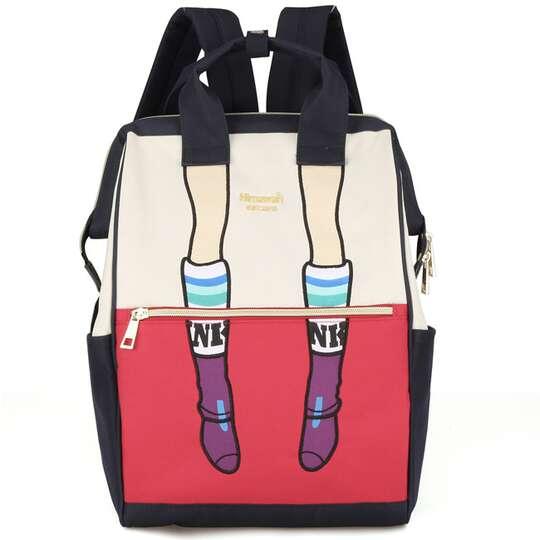 Plecak Himawari 3326 damski szkolny - Kolor: granatowo-kremowo-czerwony