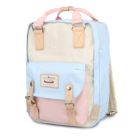 """Plecak Himawari HM188L na laptopa 13,3"""" 14,1"""" vintage - Kolor: 38. niebiesko-różowo-kremowy"""