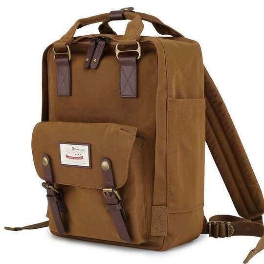 "Plecak Himawari HM188L na laptopa 13,3"" 14,1"" vintage - Kolor: 53. brązowy"