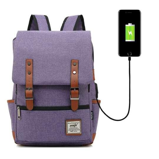 "Plecak Oxford na laptopa 15,6"" - Kolor: fioletowy z USB"