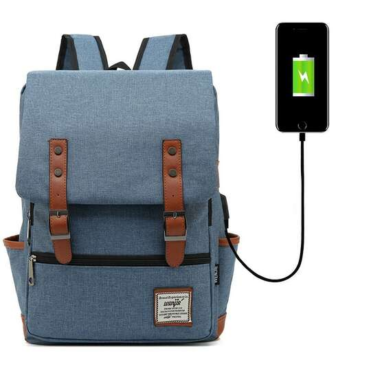 """Plecak Oxford na laptopa 15,6"""" - Kolor: jeansowy z USB"""