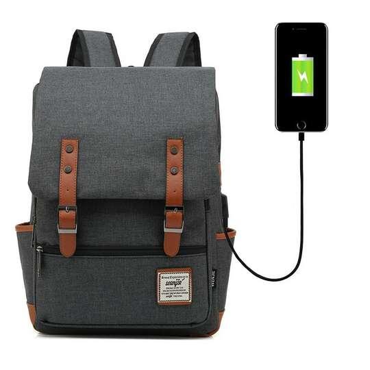 "Plecak Oxford na laptopa 15,6"" - Kolor: ciemnoszary z USB"