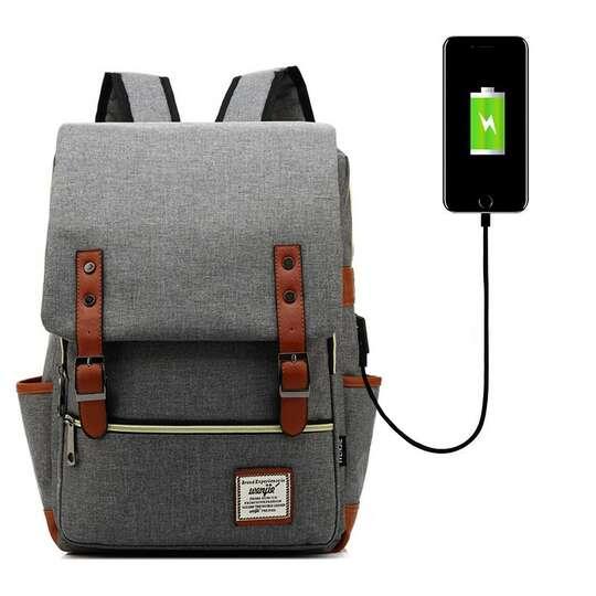 "Plecak Oxford na laptopa 15,6"" - Kolor: szary z USB"
