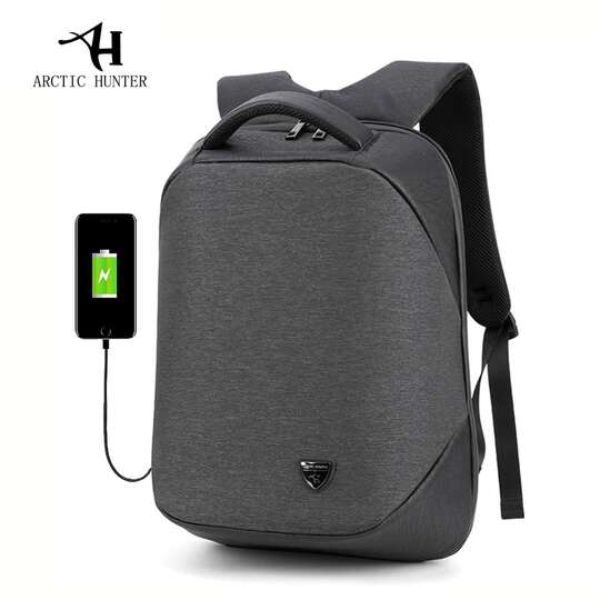 "Plecak Arctic Hunter na laptopa 15,6"" B00193 z USB - Kolor: czarno-szary"