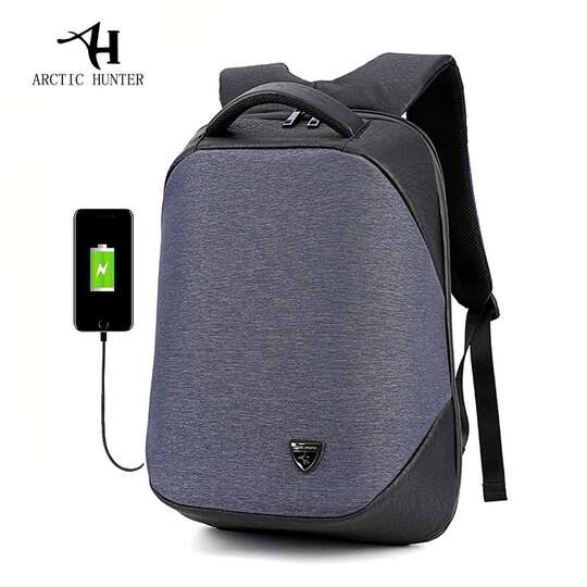 "Plecak Arctic Hunter na laptopa 15,6"" B00193 z USB - Kolor: czarno-niebieski"