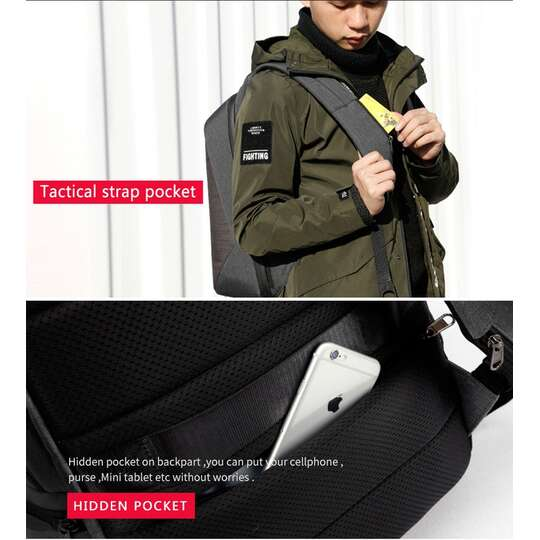 """Antykradzieżowy plecak Tigernu na laptopa 15,6"""" T-B3361 z USB"""