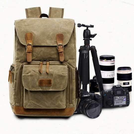 """Plecak fotograficzny na aparat + laptopa 14,1"""" vintage - Kolor: beżowy"""