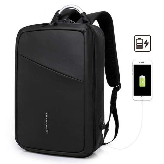 """Plecak/torba KK na laptopa 15,6"""" 807 dwukomorowa z USB - Kolor: czarny"""