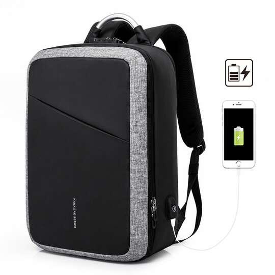 """Plecak/torba KK na laptopa 15,6"""" 807 dwukomorowa z USB - Kolor: szaro-czarny"""