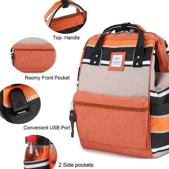 Plecak Himawari Stripes damski szkolny z USB