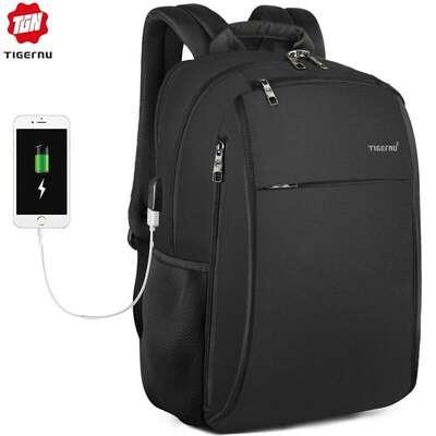"""Plecak Tigernu na laptopa 15,6"""" T-B3221 dwukomorowy z USB"""