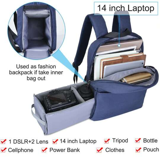 "Plecak fotograficzny Caden na aparat + laptopa 14,1"" boczny dostęp"