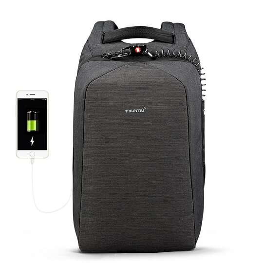 """Antykradzieżowy plecak Tigernu na laptopa 15,6"""" T-B3361 z USB - Kolor: grafitowy"""
