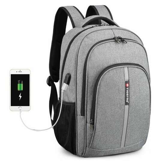 """Plecak Tigernu na laptopa 15,6"""" - 17,3"""" T-B3893 z USB - Kolor: szary"""