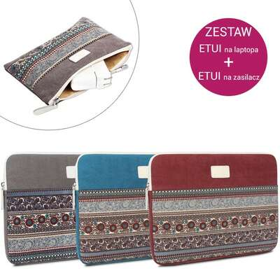 "Zestaw Etui etno Canvas na laptopa 15,6"" + Etui etno Canvas na zasilacz"