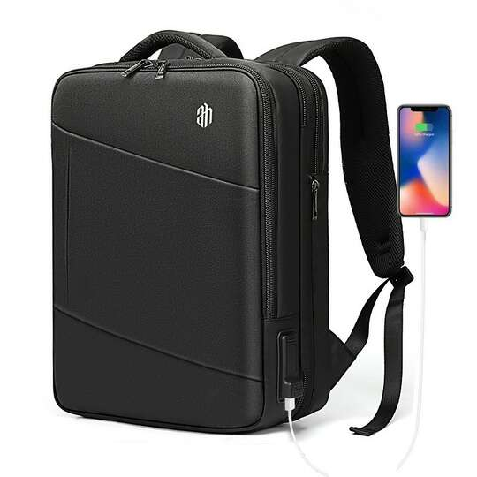 "Plecak/Torba Arctic Hunter na laptopa 15,6"" 16,4"" B00345 bagaż podręczny z USB - Kolor: czarny"