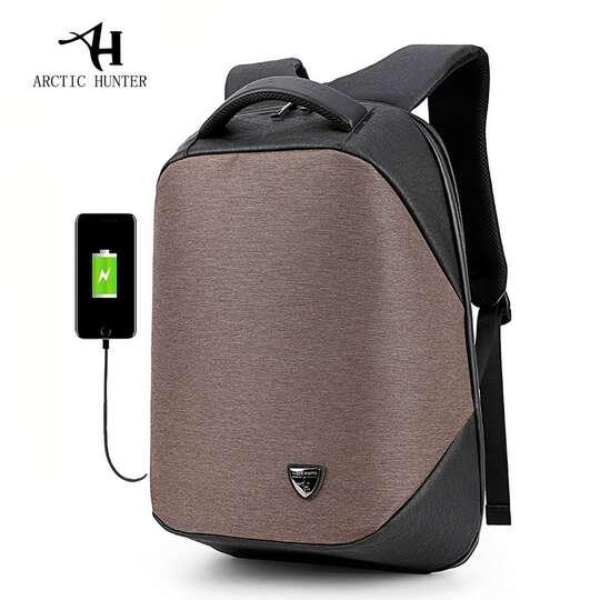 "Plecak Arctic Hunter na laptopa 15,6"" B00193 z USB - Kolor: czarno-brązowy"