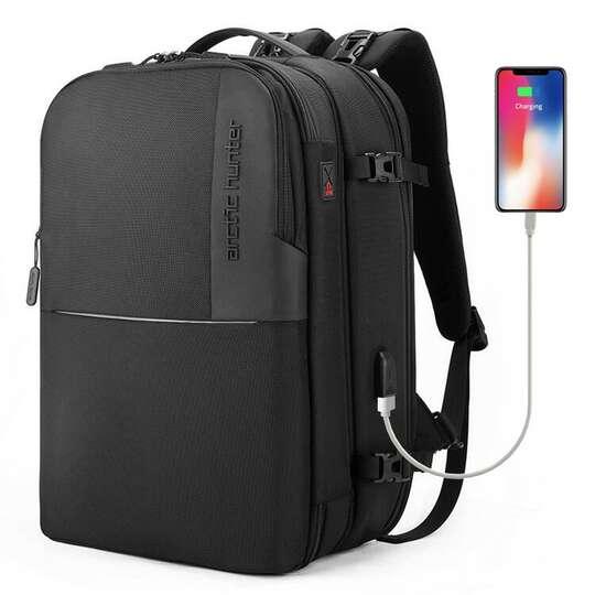 """Plecak 2in1 Arctic Hunter na laptopa 15,6"""" bardzo pojemny bagaż podręczny B00382 - Kolor: czarny"""