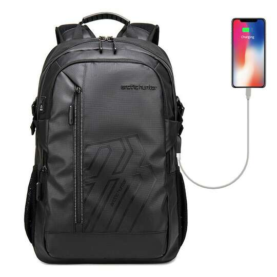 "Plecak Arctic Hunter na laptopa 15,6"" B00387 z USB - Kolor: czarny"