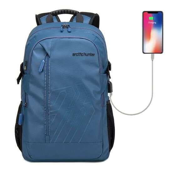 "Plecak Arctic Hunter na laptopa 15,6"" B00387 z USB - Kolor: niebieski"