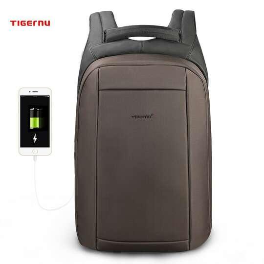 "Plecak Tigernu na laptopa 15,6"" T-B3599 z USB - Kolor: brązowy"