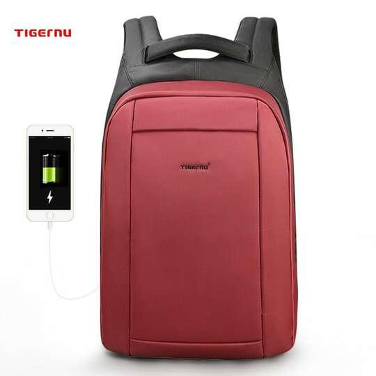 """Plecak Tigernu na laptopa 15,6"""" T-B3599 z USB - Kolor: czerwony"""