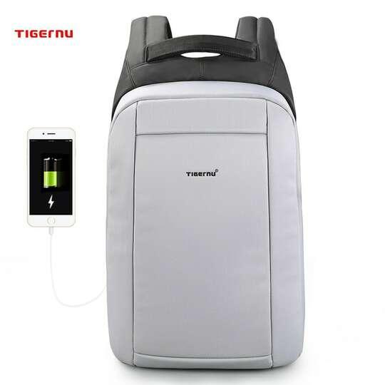"""Plecak Tigernu na laptopa 15,6"""" T-B3599 z USB - Kolor: jasnoszary"""