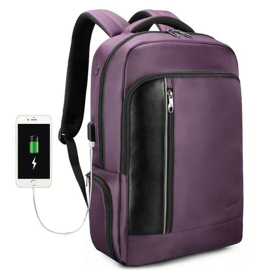 "Plecak Tigernu na laptopa 15,6"" - 16,4"" T-B3668 z USB i RFID - Kolor: fioletowy"