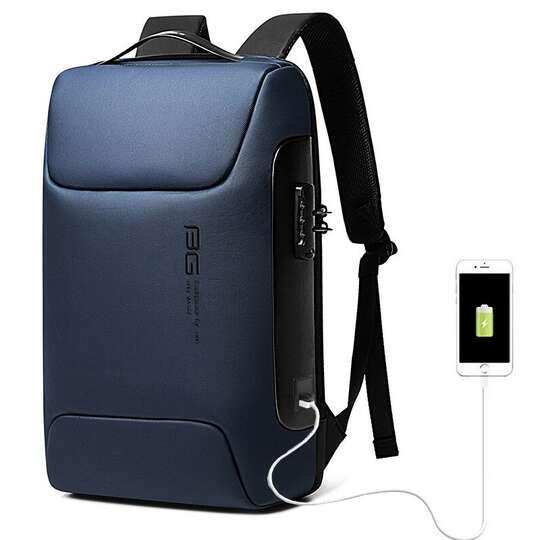 """Antykradzieżowy plecak Bange na laptopa 15,6"""" BG-7216 z USB - Kolor: niebieski"""