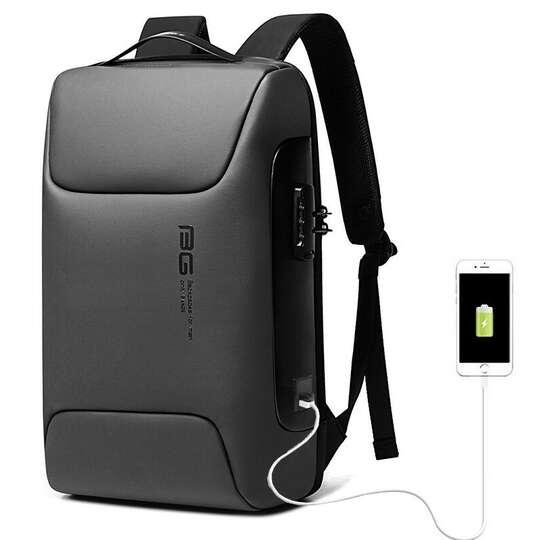 """Antykradzieżowy plecak Bange na laptopa 15,6"""" BG-7216 z USB - Kolor: szary"""