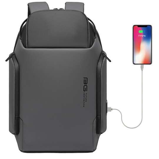 "Plecak Bange na laptopa 15,6"" BG-7277 z USB - Kolor: szary"