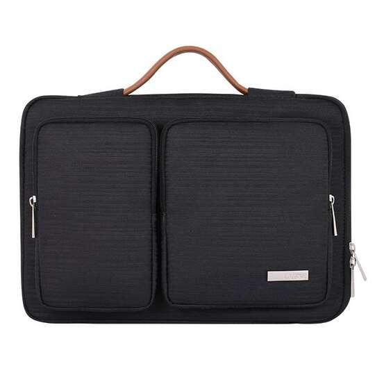 """Etui Canvas K28-22 z dwoma kieszonkami i rączką na laptopa 13,3-14,1"""" - Kolor: czarny"""