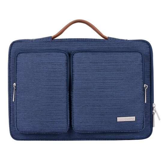 """Etui Canvas K28-22 z dwoma kieszonkami i rączką na laptopa 13,3-14,1"""" - Kolor: ciemnoniebieski"""