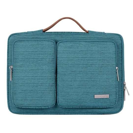 """Etui Canvas K28-22 z dwoma kieszonkami i rączką na laptopa 13,3-14,1"""" - Kolor: morski"""