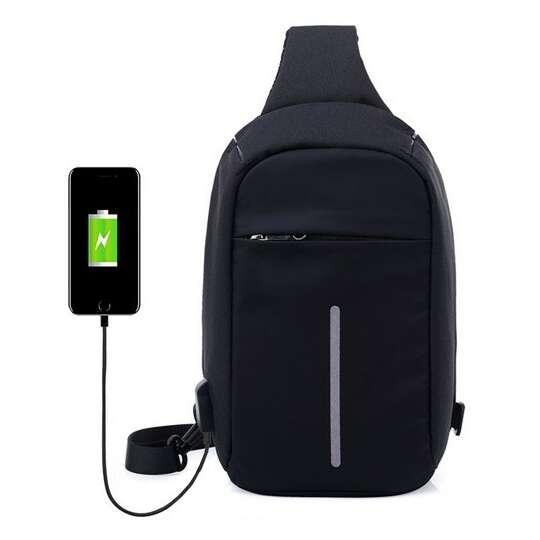 Plecak miejski na jedno ramię organizer z odblaskiem z USB - Kolor: czarny