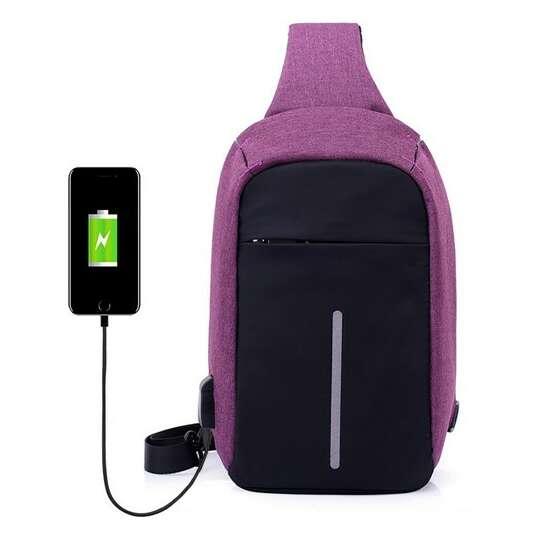 Plecak miejski na jedno ramię organizer z odblaskiem z USB - Kolor: fioletowy