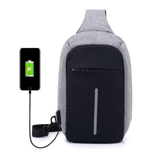 Plecak miejski na jedno ramię organizer z odblaskiem z USB - Kolor: szary