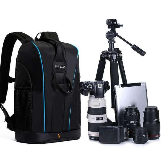 """Plecak fotograficzny na aparat + laptopa 11,6"""" Fly-Leaf FL-9020 - Kolor: czarno-niebieski"""