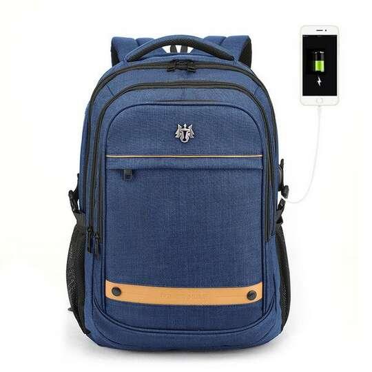 """Plecak Golden Wolf na laptopa 15,6"""" GB00370 z USB pojemny - Kolor: niebieski"""