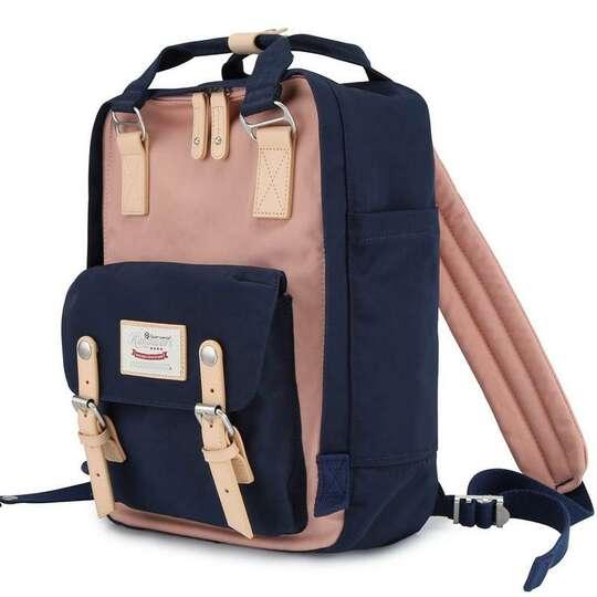 """Plecak Himawari HM188L na laptopa 13,3"""" 14,1"""" vintage - Kolor: 54. granatowo-różowy"""