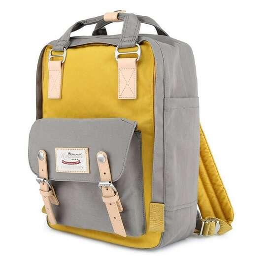 "Plecak Himawari HM188L na laptopa 13,3"" 14,1"" vintage - Kolor: 51. szaro-żółty"