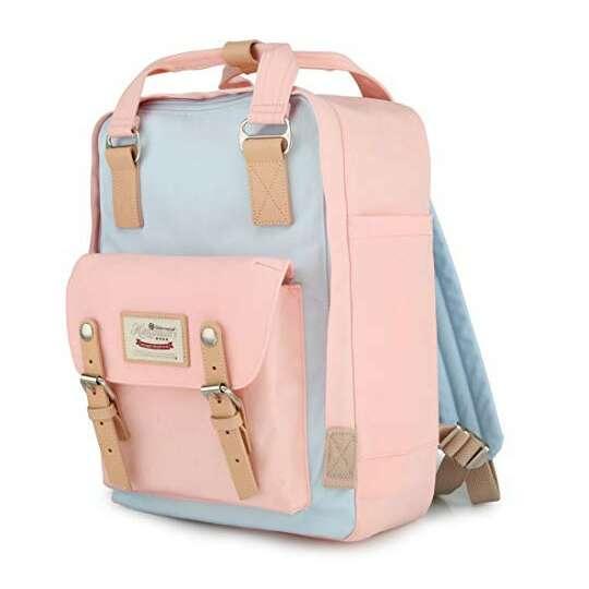 """Plecak Himawari HM188L na laptopa 13,3"""" 14,1"""" vintage - Kolor: 42. różowo-niebieski"""