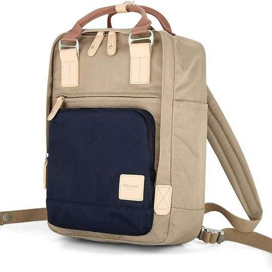 """Plecak Himawari HM187 na laptopa 13,3"""" 14,1"""" vintage - Kolor: 05. kawowo-granatowy"""