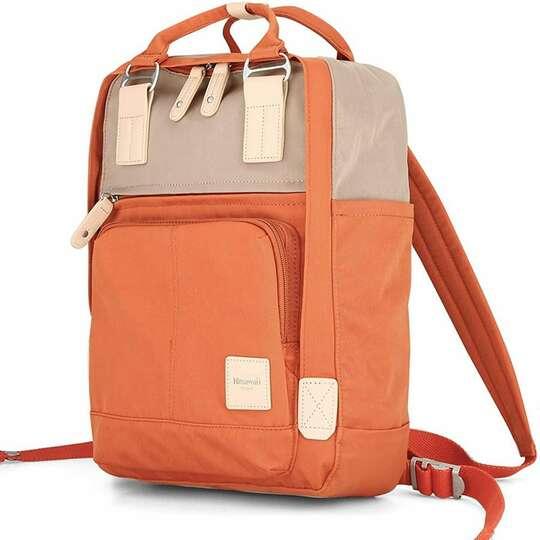 """Plecak Himawari HM187 na laptopa 13,3"""" 14,1"""" vintage - Kolor: 07. pomarańczowo-kawowy"""