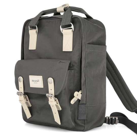 """Plecak Himawari HM188L na laptopa 13,3"""" 14,1"""" vintage - Kolor: 69. ciemnoszary/jasnobrązowy"""
