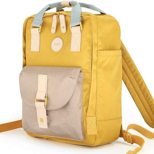 """Plecak Himawari HM200 na laptopa 13,3"""" 14,1"""" vintage - Kolor: 08. zółto-kawowy"""