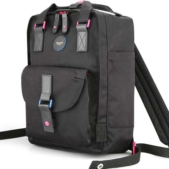 "Plecak Himawari HM200 na laptopa 13,3"" 14,1"" vintage - Kolor: 09. czarny (różowe wnętrze)"