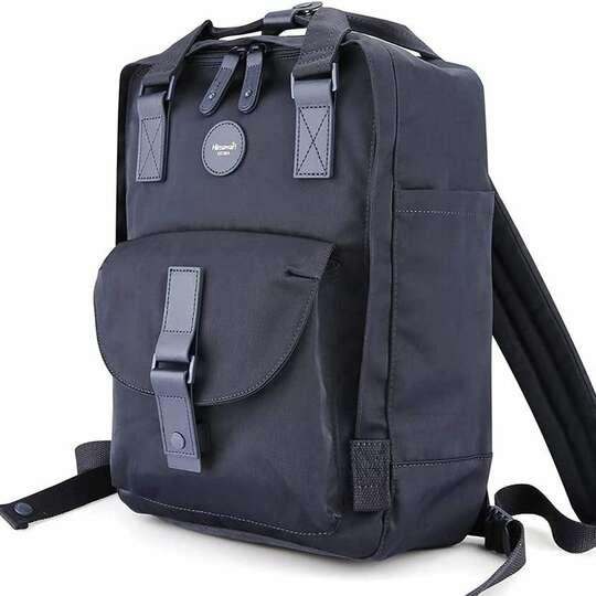 """Plecak Himawari HM200 na laptopa 13,3"""" 14,1"""" vintage - Kolor: 10. granatowy (pomarańczowe wnętrze)"""